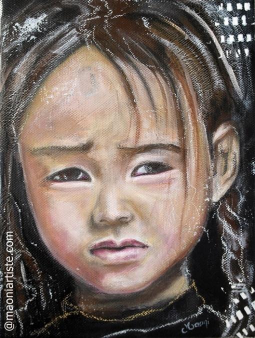 Peinture portrait enfant asiatique mélancolique ton noir-brun-blanc