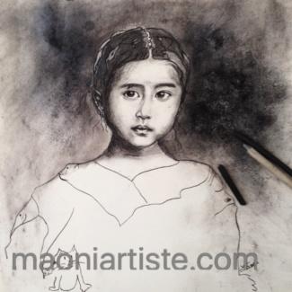 Portrait au fusain enfant