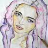 Portrait à l'aquarelle d'une jeune femme douce et tendre dans les tons dominant mauve