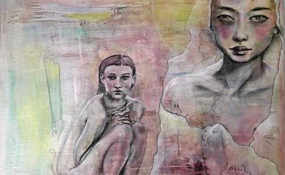 fusfusain femme nue et portrait femme au voile - YOU ARE SO LOVED - MAONI  - Fusain sur peinture ACRYLIQUE - 2017 - 40cmx40cm sur carton entoilé. ain femme nue et portrait femme asiatique
