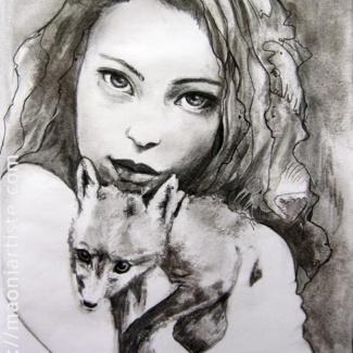 Portrait fusain belle jeune femme et renard