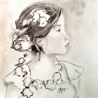 portrait graphite fusain jolie fillette asiatique