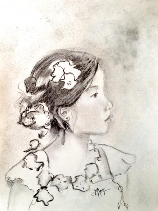 portrait graphite fusain jolie fillette asiatique