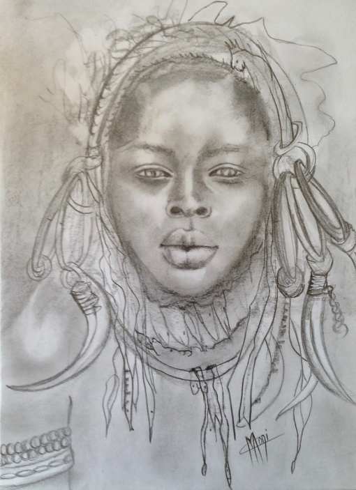 PORTRAIT GRAPHITE FUSAIN BELLE FEMME AFRICAINE