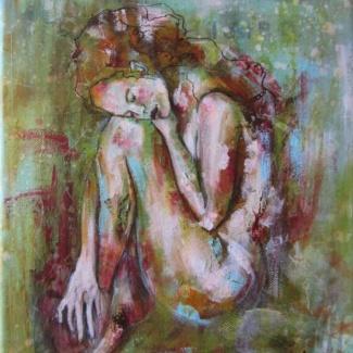 Peinture acrylique jeune femme nue recroquevillée