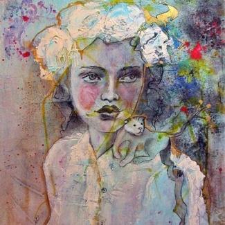 portrait vintage jeune femme et lionceau mixed media