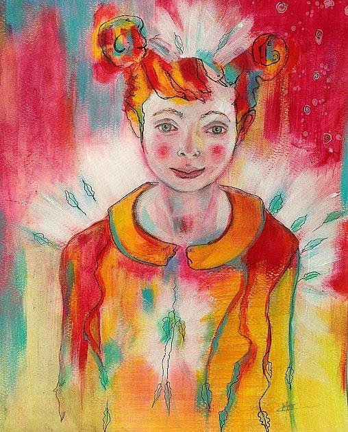 Portrait coloré mixed media jolie fillette aux couettes enroulées