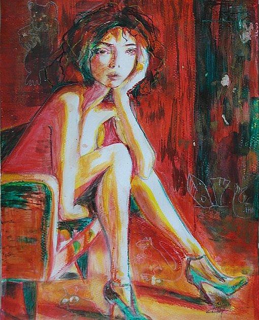 Portrait très coloré mixed media belle jeune femme aux talons verts assise dans un fauteuil