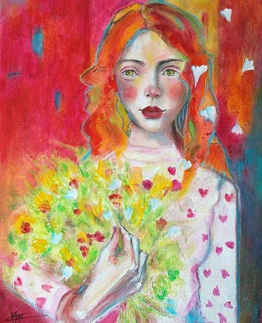 Portrait coloré mixed media jolie jeune femme bouquet fleurs