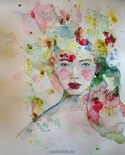 Portrait aquarelle belle jeune femme