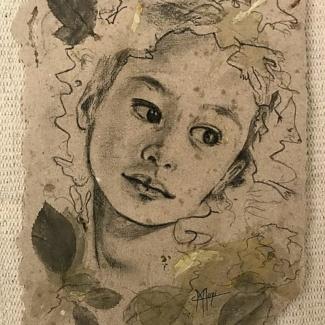 Portrait tendre fillette fusain et feuilles de rosier maoni 2020 04